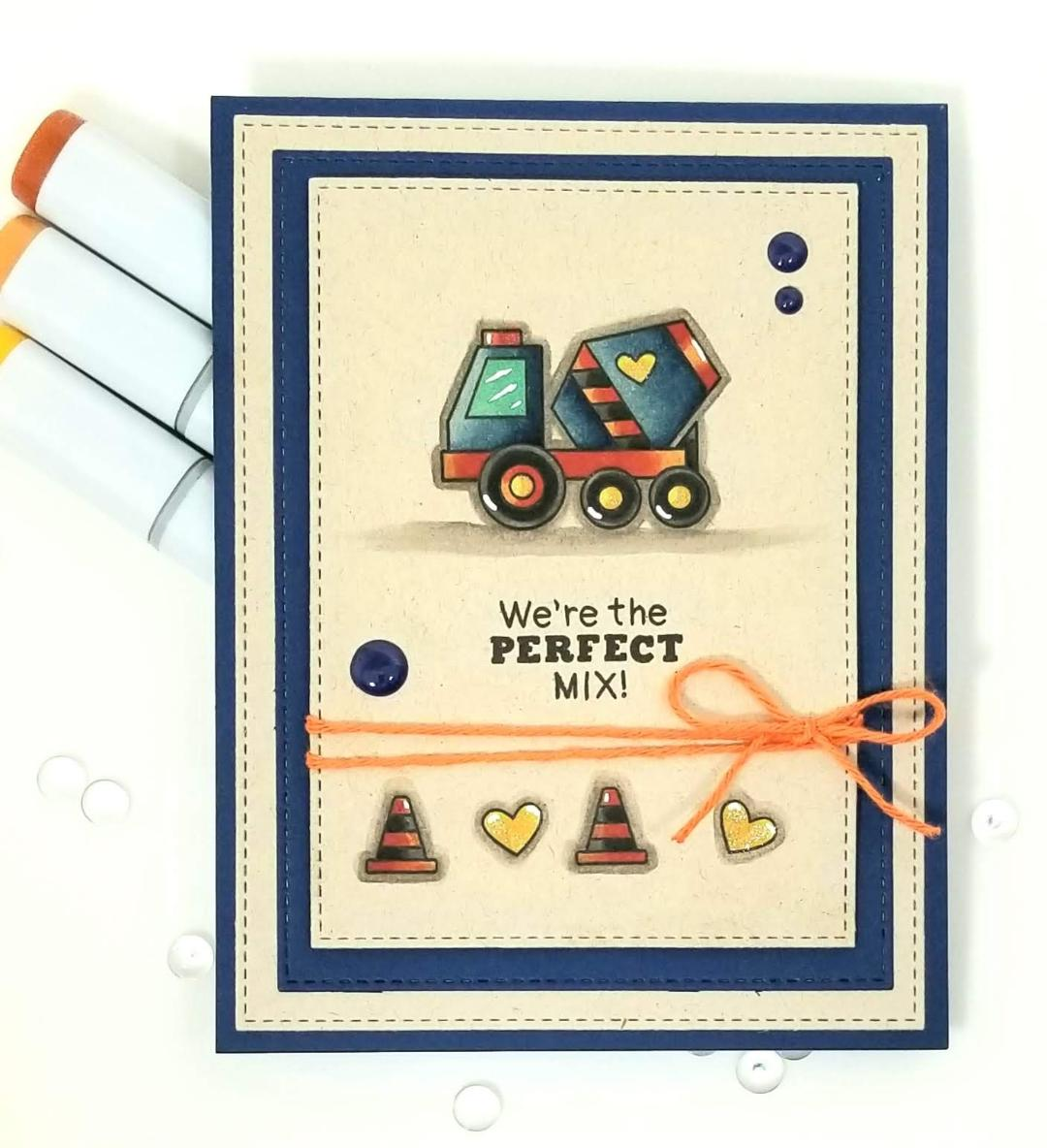 We're the Perfect Mix Card by February Guest Designer Lori U'ren | Love Quarry Stamp Set by Newton's Nook Designs #newtonsnook #handmade