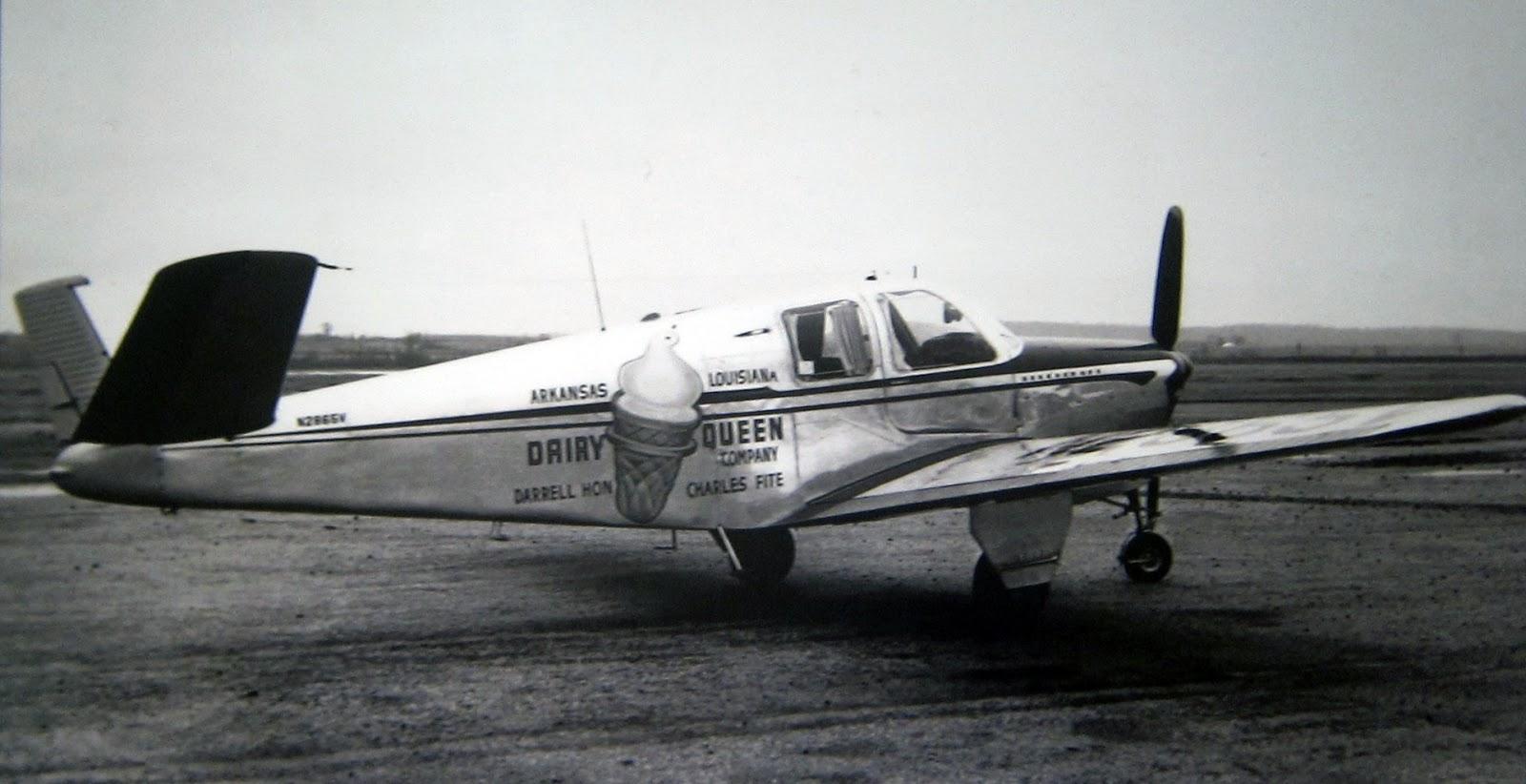 transpress nz: Beechcraft Bonanza aircraft of Dairy Queen, 1950s