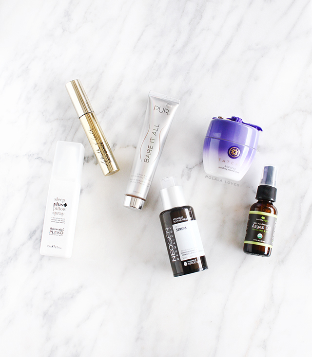 This Works Sleep Plus Pillow Spray, Smith & Cult Lash Dance Mascara,  PUR Bare It All 4-in-1 Skin-Perfecting Foundation,  Neogen Dermalogy Advanced Routine Treatment White Clear Serum, Tatcha Ageless Enriching Renewal Cream,  Actually Organic Argan O