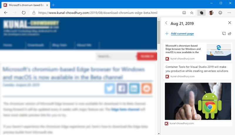 Microsoft's chromium Edge is getting Collections feature on Windows 10