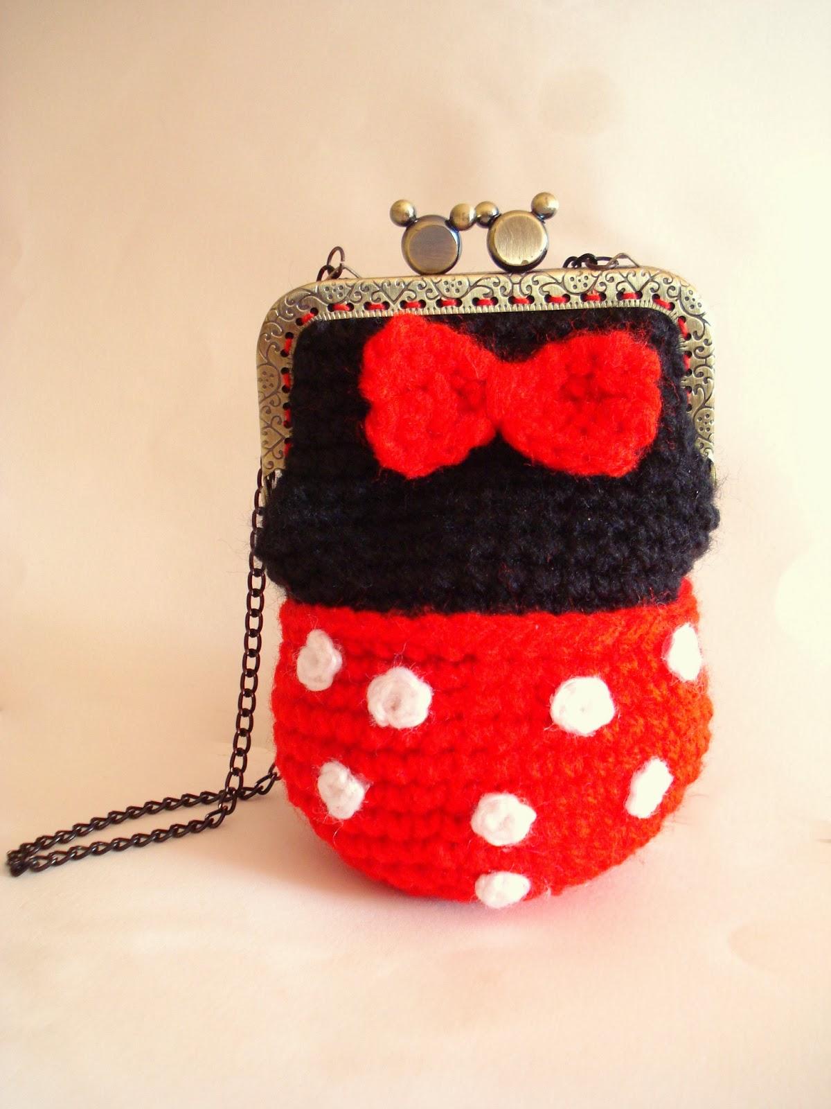 Allsocute Amigurumis Minnie Mouse Crochet Girl Purse Bag