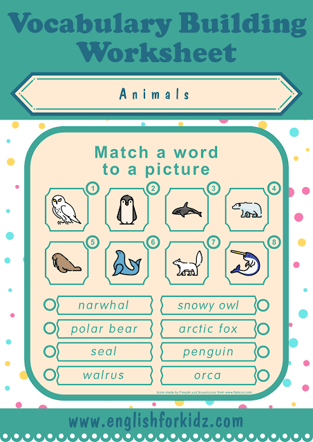 Polar animals worksheet - word to picture matching - free ESL worksheets