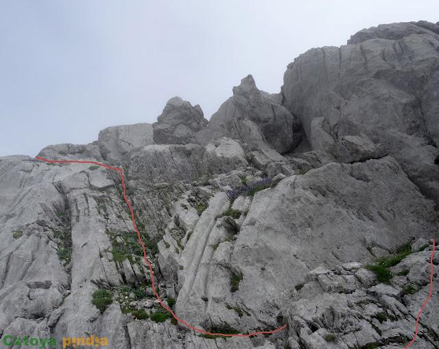 Camino aproximado de subida hasta el Tercer Poyón.