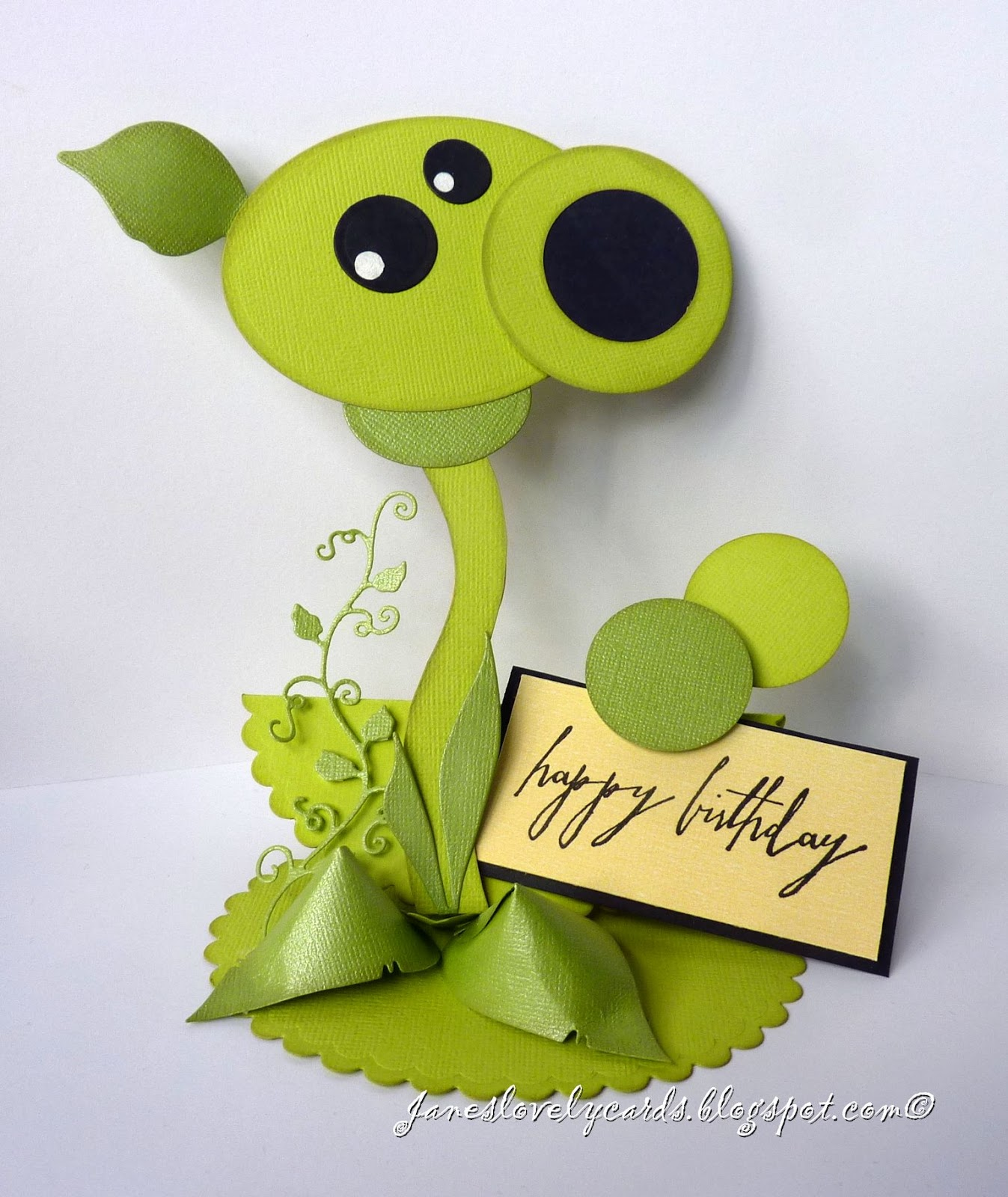 Janes lovely cards plants vs zombies birthday card something a little different from my normal style of card to share today i made this easel card for my sons birthday in the form of a character from one bookmarktalkfo Choice Image