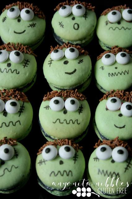 A dozen gluten free Frankenstein Halloween Macarons | Anyonita Nibbles