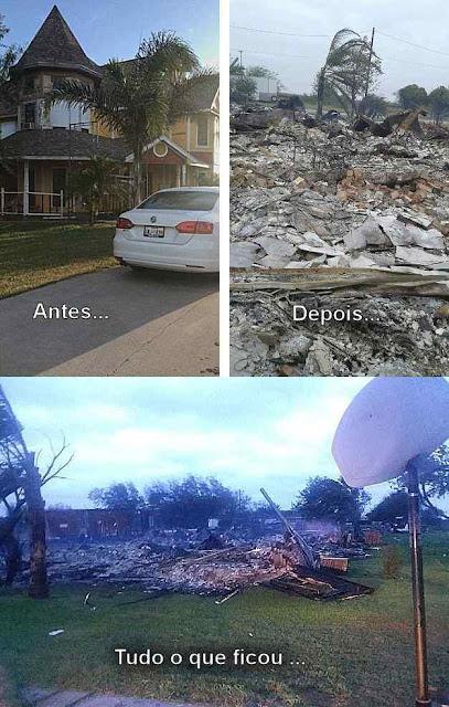 A casa antes e depois da calamidade