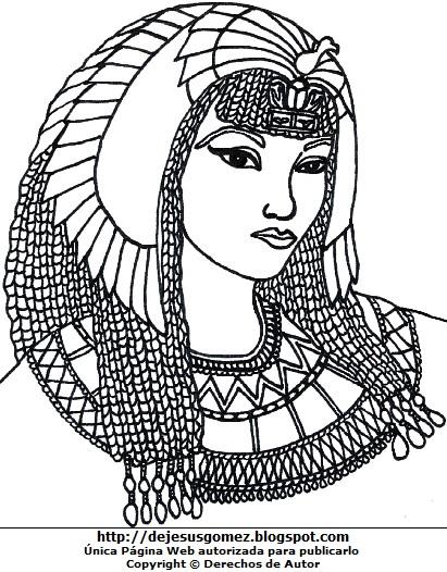 Dibujo de Cleopatra para niños para pintar o colorear. Imagen de Cleopatra hecho por Jesus Gómez