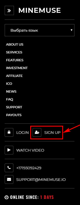 Регистрация в MineMuse