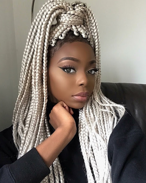colourful box braids style