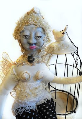 Amaryllis Butterfly Mixed Media Spirit Doll Art Doll with Birdcage