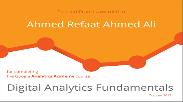 Google Analytics Academy Certificate - Digital Analytics Fundamentals