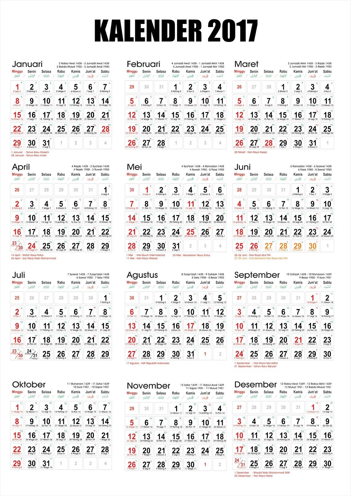 Kalender Nasional 2017 : kalender, nasional, Desember, Kalender