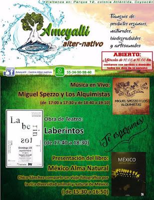 Comparto algunas imágenes de la presentación de mi libro México Alma Natural en el Tianguis de productos orgánicos, naturales, biodegradables y artesanales Ameyalli alternativo. Diario de un Observador. Periodismo Quijotesco. Chico Sanchez