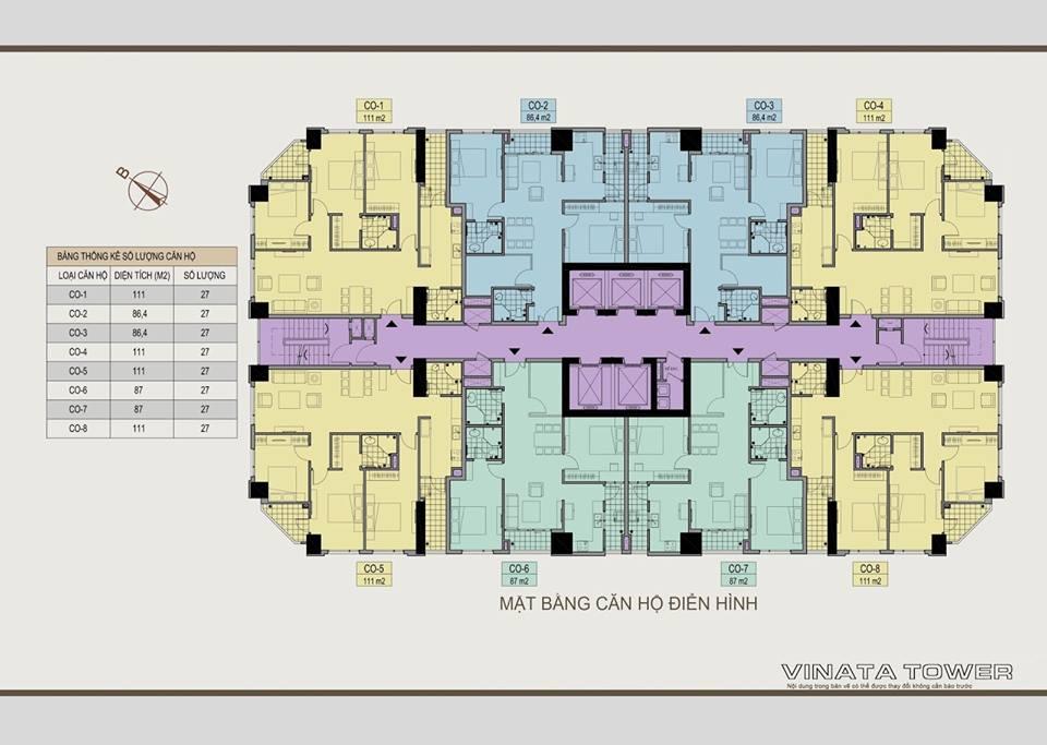 Mặt bằng tầng điển hình Vinata Towers
