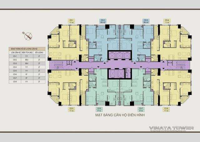 Mặt bằng tầng điển hình chung cư Vinata Towers