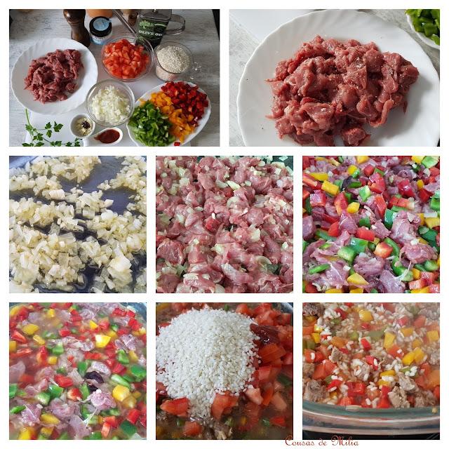 Arroz picante con carne en microondas