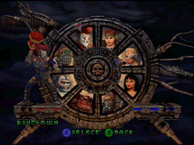 A wheel featuring every playable character in Bio Freaks.