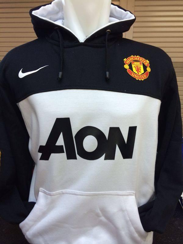 Jaket Hoodie Man United Hitam Putih Sponsor AON