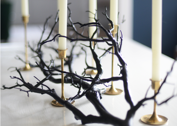 Black spray painted branch candles