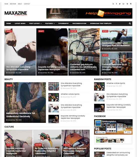 Maxazine Responsive clean design For newspaper, magazine blog design SEO optimized Beautiful Slider Highlight any news or post Mixed color of red, black, Right sidebar Minimalist Ads ready Gallery style Email Subscription Widget Ready Free Premium Post Thumbnails 2 Columns layout template 3 columns footer Blogger Template free download