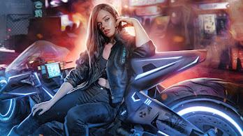 Cyberpunk, Girl, Motorcycle, Sci-Fi, 4K, #6.753