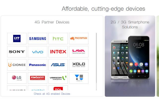 Reliance jio compatible 4G/LTE devices