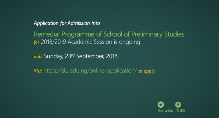 SLU Remedial Programme Admission Form