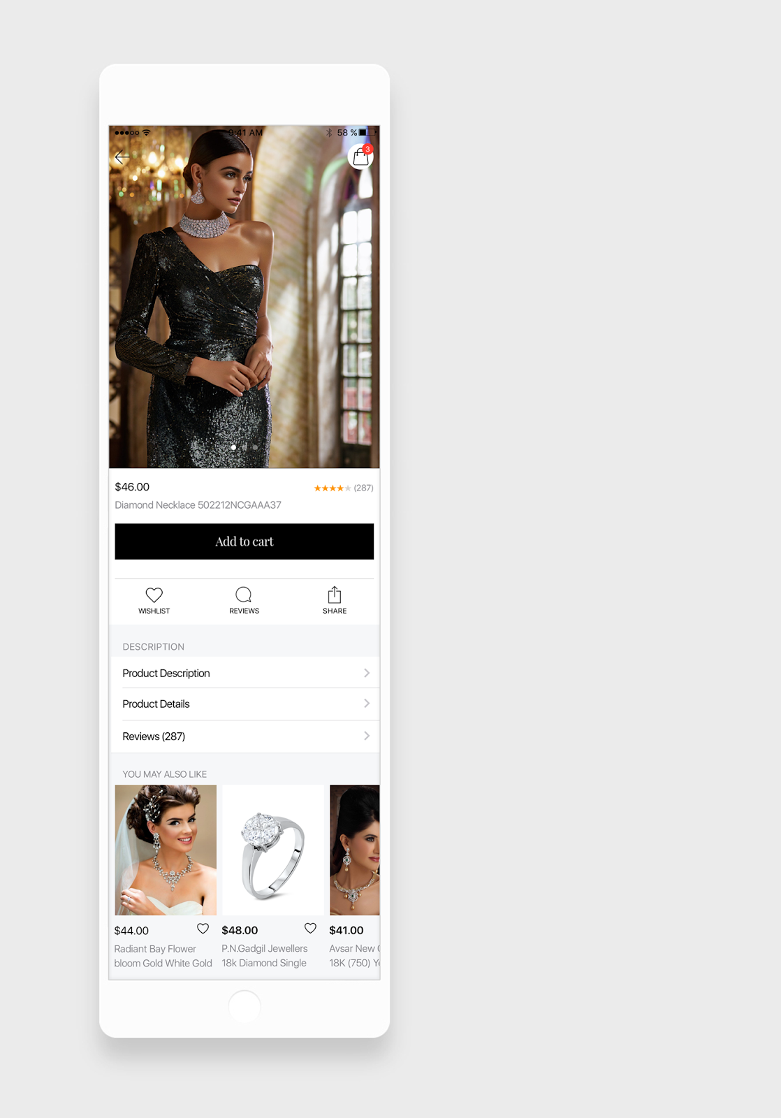 Jewellery App product details screen