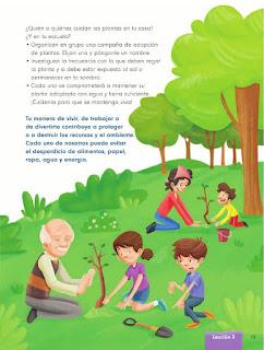 Apoyo Primaria Formación Cívica y Etica 2do. Grado Bloque III Lección 3 La vida es verde