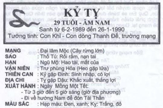TỬ VI TUỔI KỸ TỴ 1989 NĂM 2017
