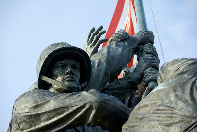 close-up of Marine Corps War Memorial monument