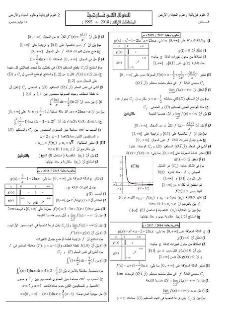 الدوال اللوغارتمية امتحانات البكالوريا علوم تجريبية  من 1993 الى 2018