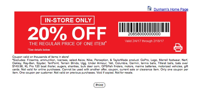 Dunhams discount coupon
