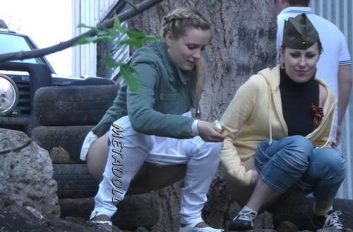 Girls peeing in public Carpark with hidden camera 01