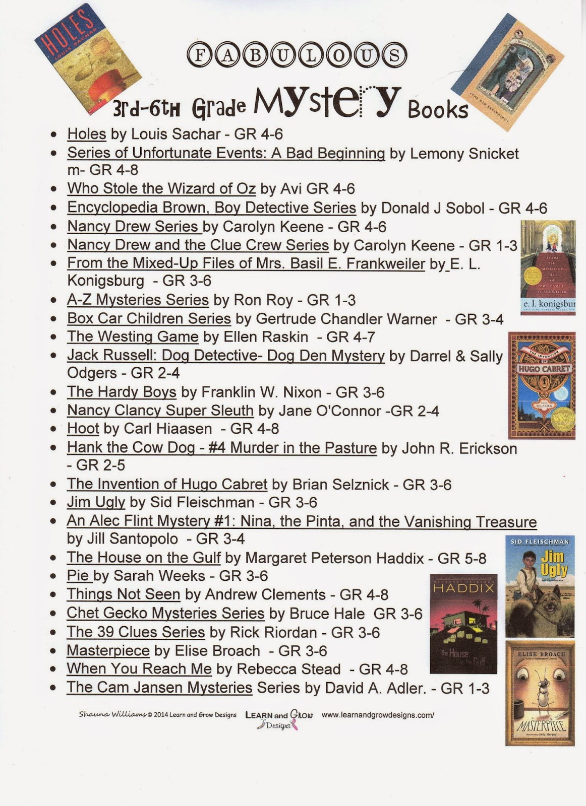 Worksheets Grade 4 Reading Selection learn and grow designs website 3rd 6th grade mystery book reading suggestions