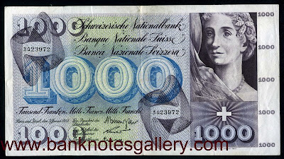 Switzerland currency 1000 Swiss Francs banknote
