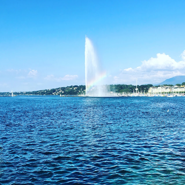 Rainbow at the Jet d'Eau in Geneva, Switzerland