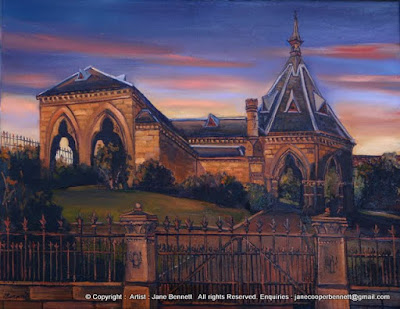 Plein air oil painting of nocturne of Mortuary Stationnear Central Station,  painted by industrial heritage artist Jane Bennett