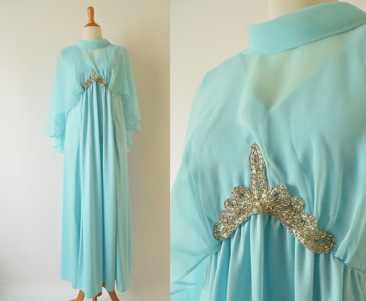 1970s dress with sheer cape