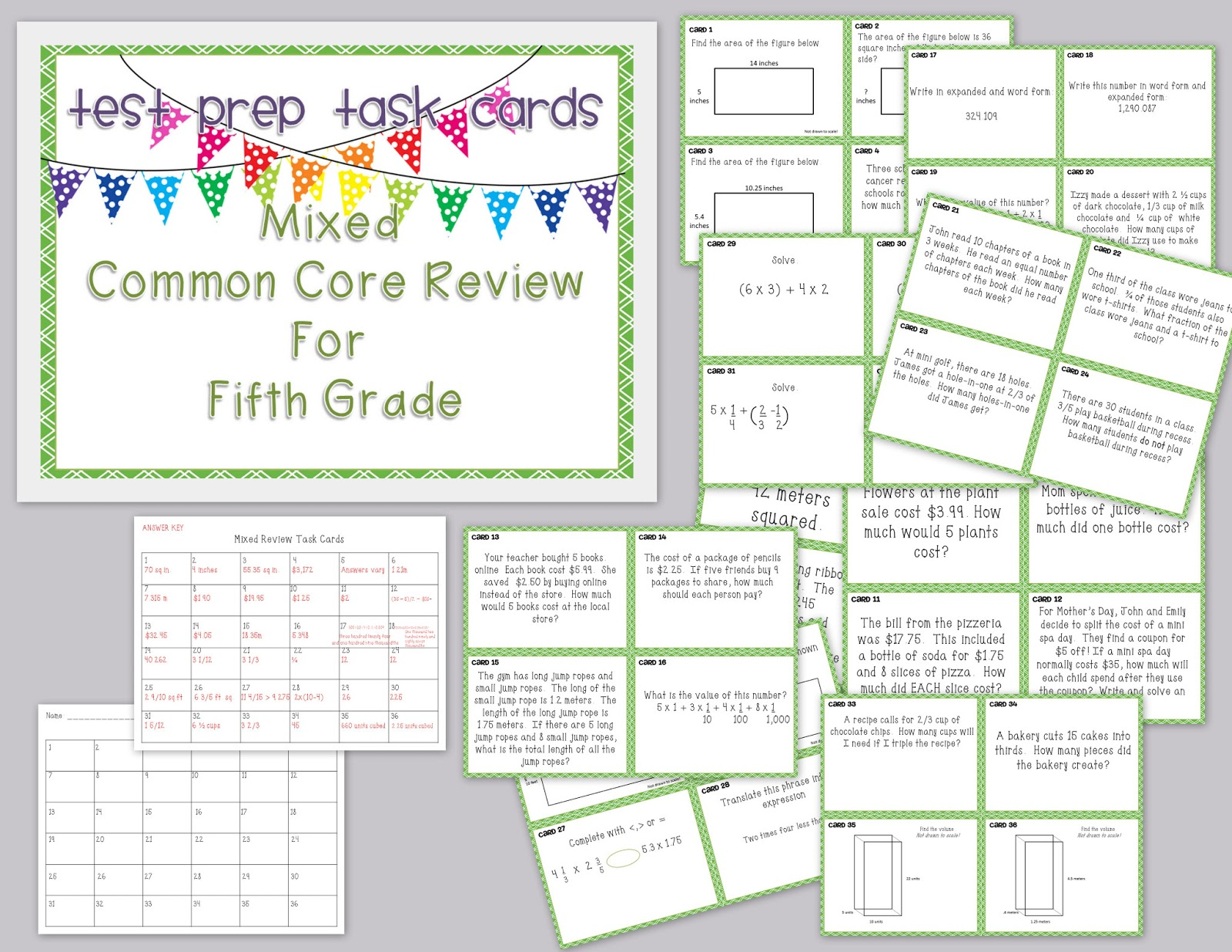 Misskinbk A Fifth Grade Blog Finished Early Work In Math Mixed Review Test Prep Task Cards