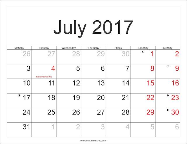 July 2017 calendar with holiday, July 2017 blank calendar
