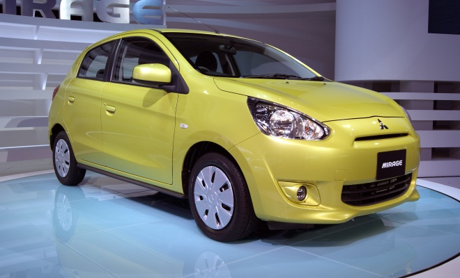 Kermit-coloured Mitsubishi Mirage
