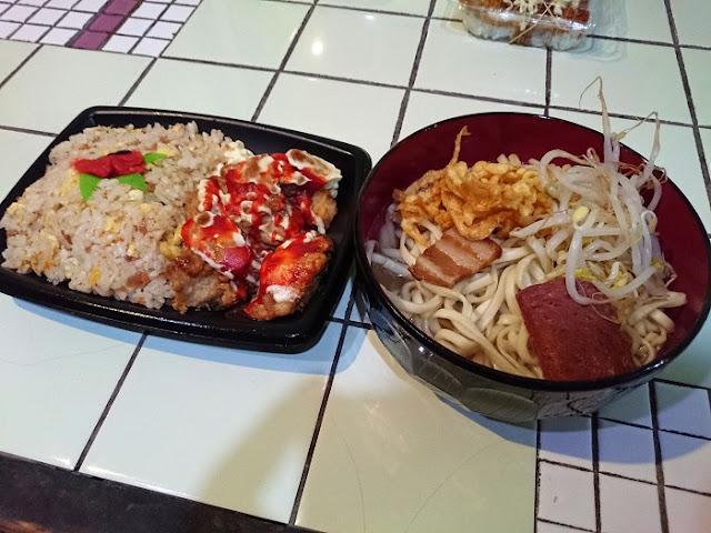 200円そばと唐揚げ&チャーハン弁当の写真