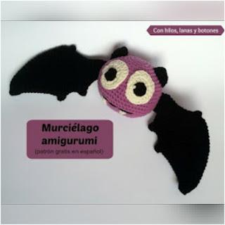patron Amigurumi murciélago con hilos lanas y botones