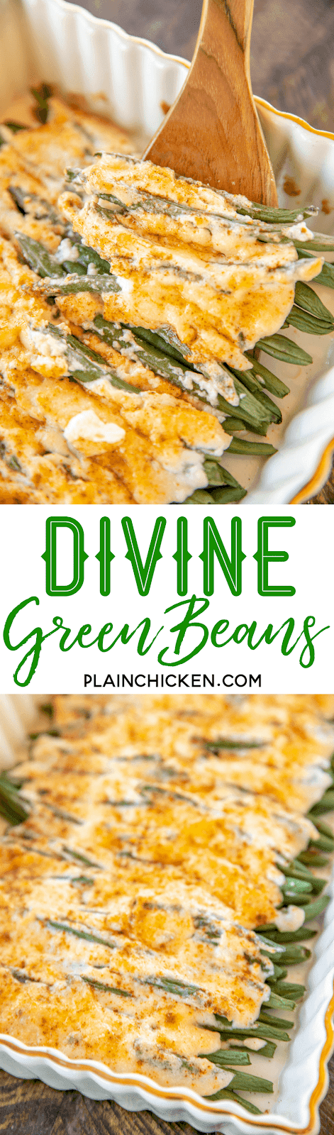 Divine Green Beans - only 4 ingredients! Fresh green beans, mayonnaise, parmesan cheese and paprika. Can add garlic salt too. Ready to eat in 20 minutes. We make this at least once a week! Our FAVORITE green bean recipe!! #sidedish #greenbeans #veggie
