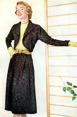 The Vintage Pattern Files : Free 1950's Knitting Pattern - Town and Country Bolero Suit