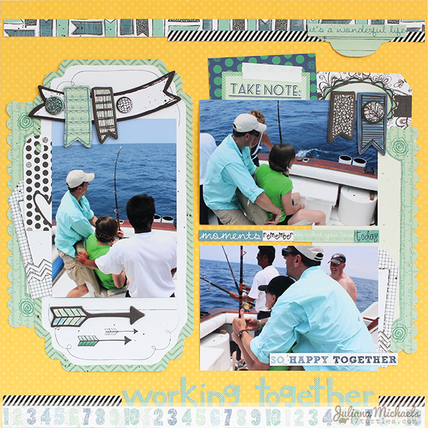 Working Together Layout by Juliana Michaels using BoBunny Zip-A-Dee-Doodle