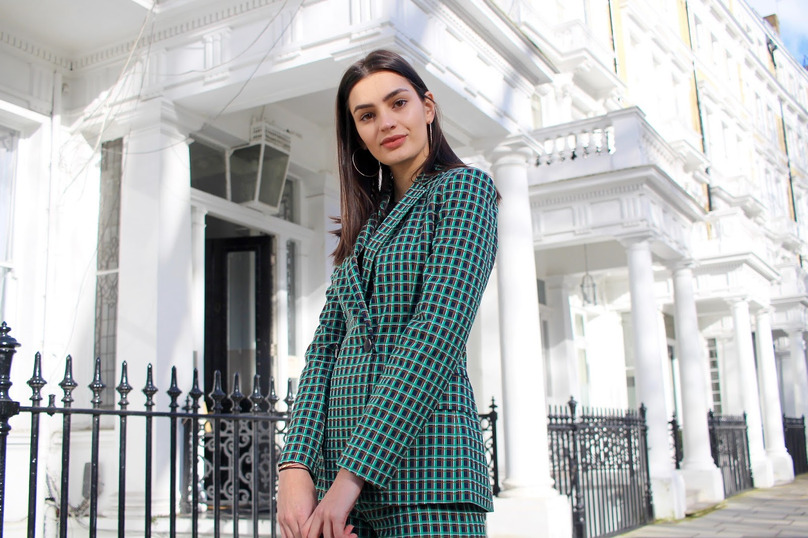 peexo zara green check blazer fashion blog