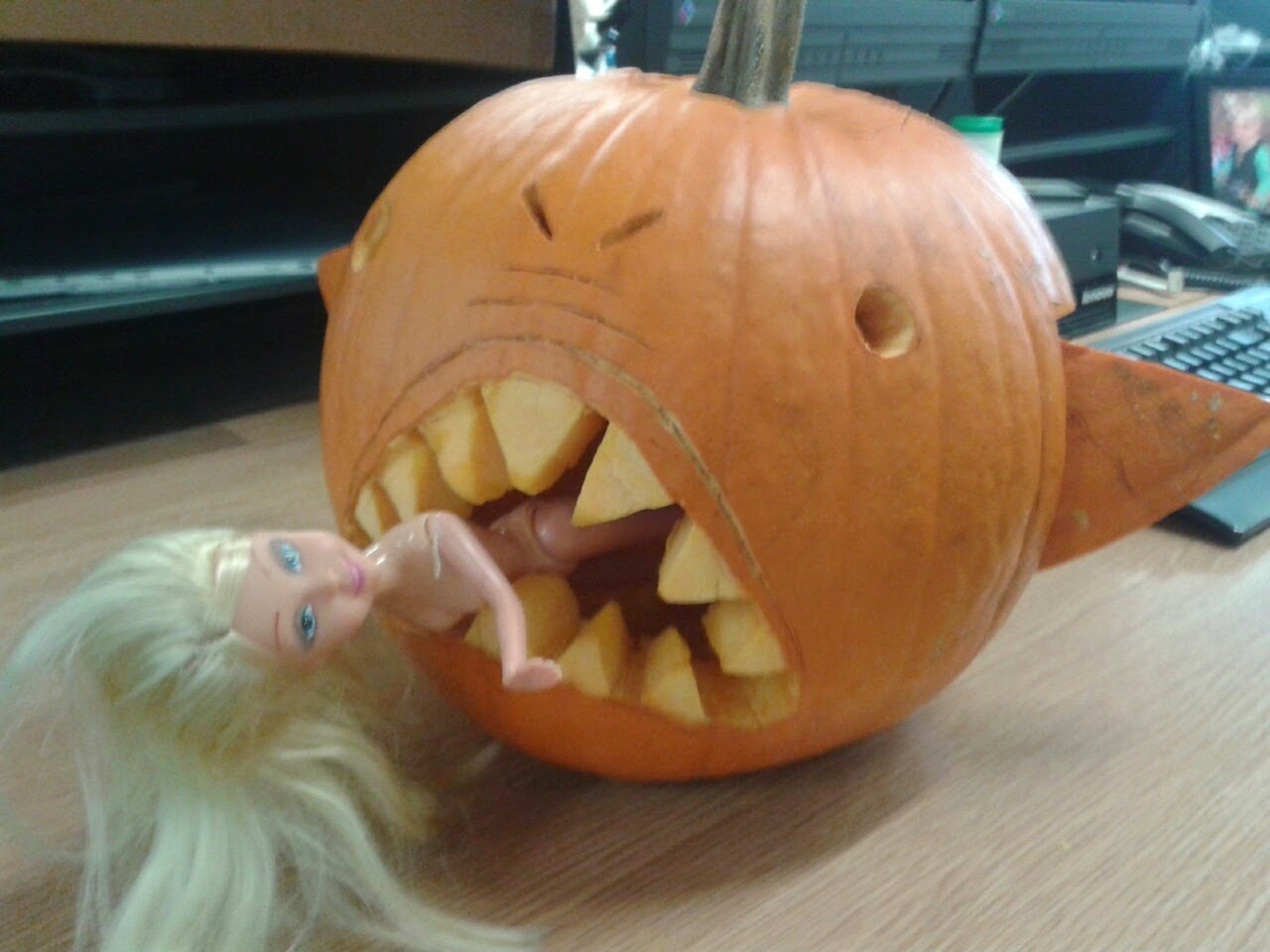 Pumpkin Eating Barbie