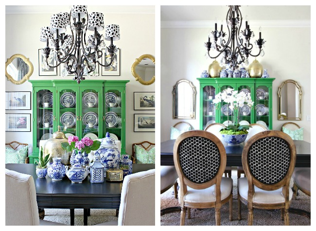 Green China Cabinet Blue And White Accessories Dining Room